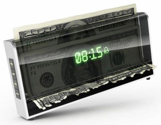 紙幣シュレッダー式目覚まし時計