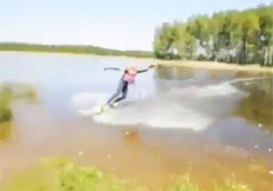 水上スキーで失敗