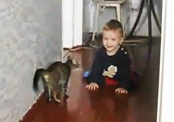 猫とじゃれ合う赤ちゃん