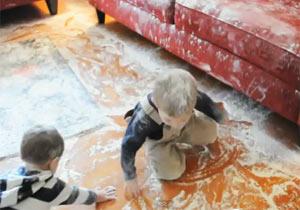 部屋が小麦粉だらけ