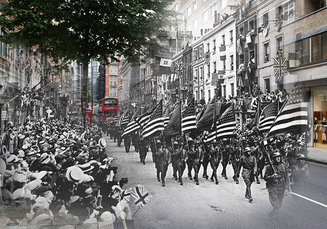 第一次大戦のイギリスと現代の写真を合成