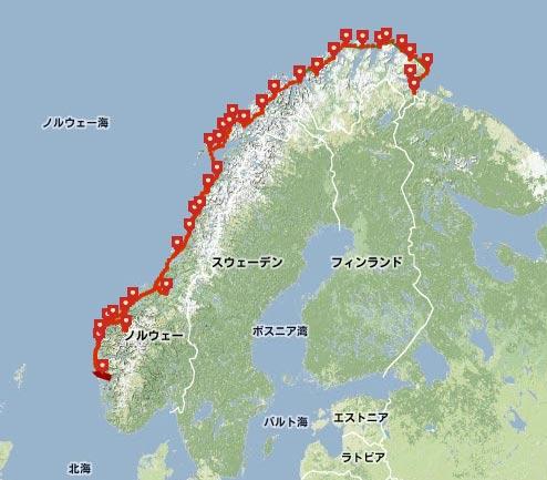ノルウェーのクルーズ船のルート