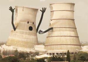冷却塔が崩壊