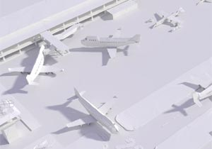 全て紙でできた街や飛行場