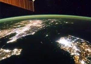 ISSから写した夜の北朝鮮