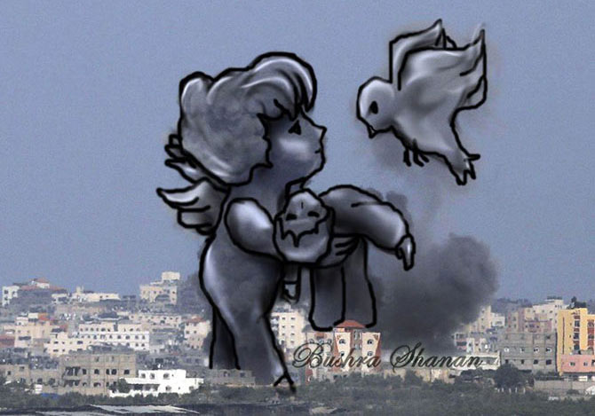 爆煙の中に見えた人や動物